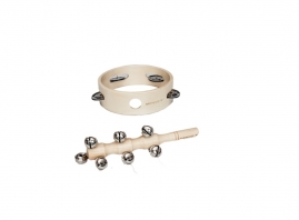 Dimension:  Large Tambourine - 15cm Diamater. Bar Bell Shaker - 15cm Long.  Age Suitability:  3 year +   Suitable: Indoor Use